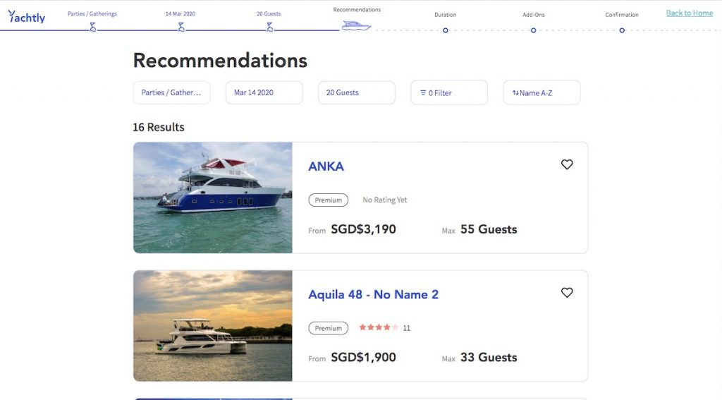 A list of recommended boats based on occasion, date, and number of guests