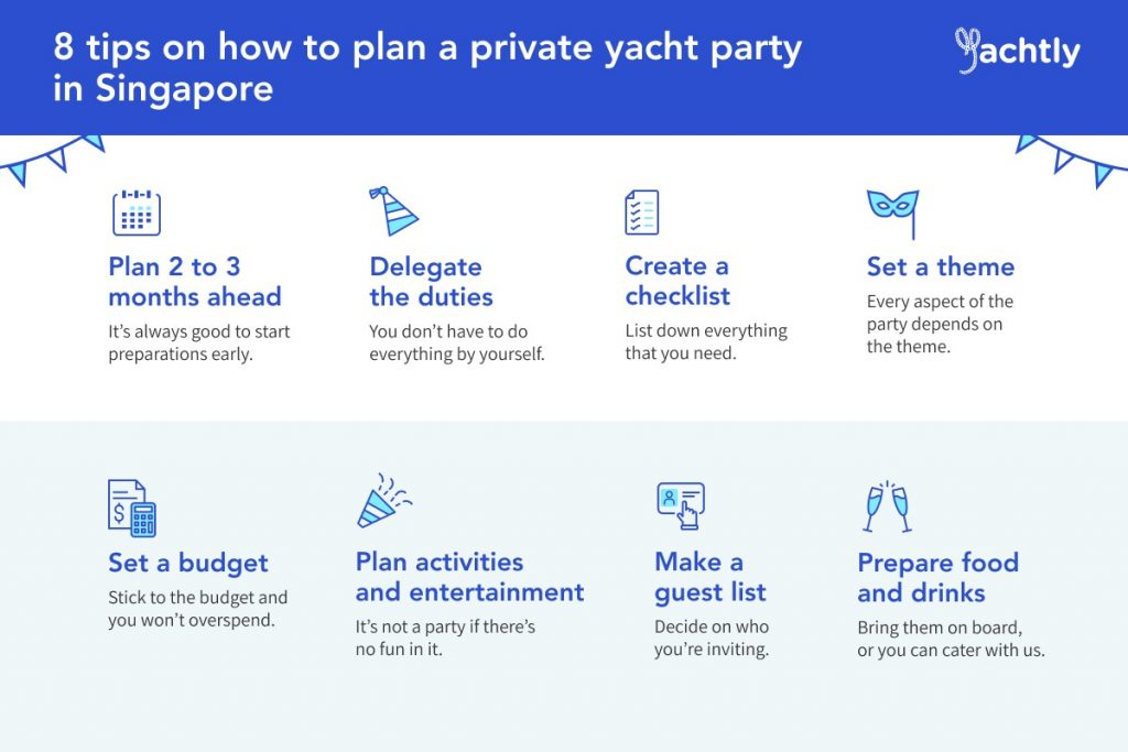 infographic of 8 tips to plan a private yacht party in singapore