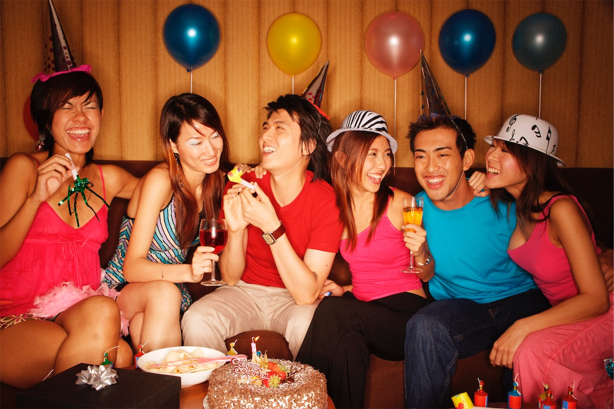 Group of friends partying and having fun