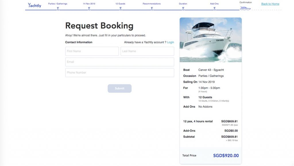 Contact information for yacht booking request