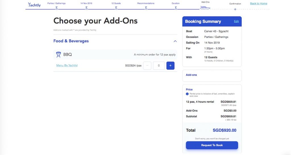 Add-ons selection and booking summary