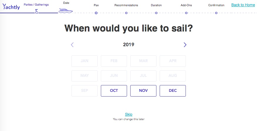 Year and month selection for yacht booking