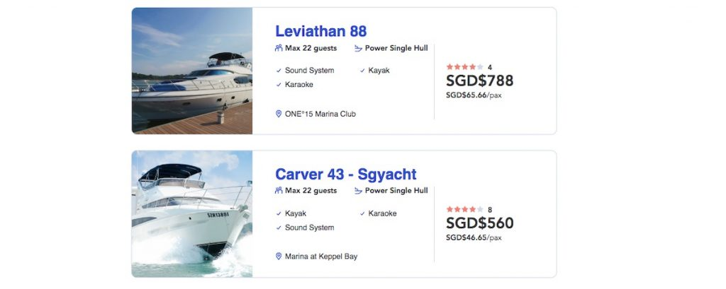Yacht recommended and its prices