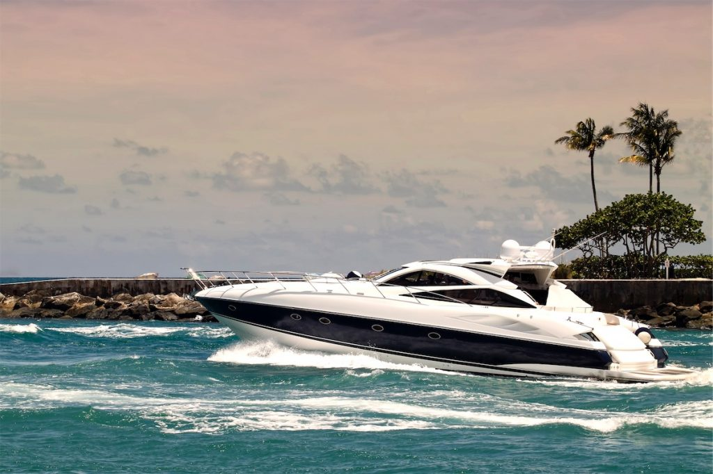 motor yacht cruising crossing the sea